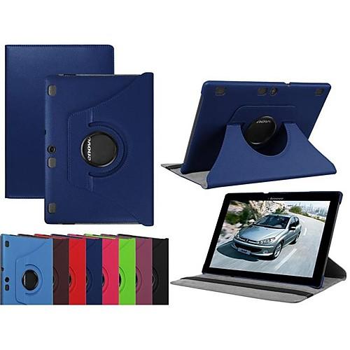 Кейс для Назначение Lenovo Lenovo Tab 3 10 business (TB3-X70F / N) / Lenovo Tab 3 10 Plus со стендом / Флип / Поворот на 360° Чехол Однотонный Твердый Кожа PU для Lenovo Tab 3 10 Plus / Lenovo Tab 3