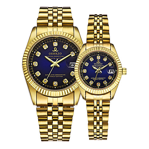 Couple's Wrist Watch Gold Watch Quartz Matching His And Her Gold 30 m Calendar / date / day Creative Analog Luxury Elegant - Gold