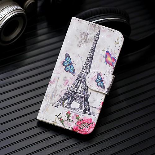 Кейс для Назначение SSamsung Galaxy S9 Plus / S9 Кошелек / Бумажник для карт / со стендом Чехол Эйфелева башня Твердый Кожа PU для S9 / S9 Plus / S8 Plus фото