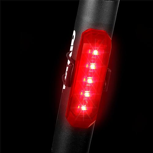 Светодиодная лампа Велосипедные фары Задняя подсветка на велосипед Горные велосипеды Велоспорт Водонепроницаемый Быстросъемный Легкость Литий-ионная аккумуляторная батарея 80 lm Красный / АБС-пластик фото
