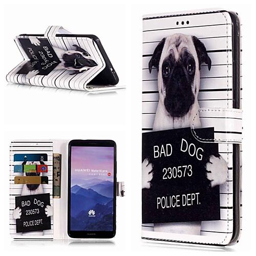 Кейс для Назначение Huawei Mate 10 lite / Mate 9 Pro Кошелек / Бумажник для карт / со стендом Чехол С собакой Твердый Кожа PU для Mate 10 / Mate 10 pro / Mate 10 lite фото