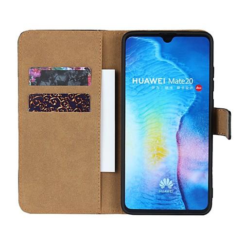 Кейс для Назначение Huawei Y6 (2018) / Huawei Mate 20 Lite / Huawei Mate 20 Pro Кошелек / Бумажник для карт / со стендом Чехол Однотонный Твердый Настоящая кожа для Huawei Nova 3i / Huawei Honor 9i фото