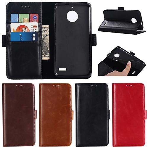 Кейс для Назначение Motorola Moto G6 Plus / G5 Plus Кошелек / Бумажник для карт / со стендом Чехол Однотонный Твердый Настоящая кожа для MOTO G6 / Moto G6 Plus / Мото G5 Plus фото