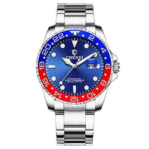 Men's Wrist Watch Japanese Quartz Stainless Steel Silver 30 m Water Resistant / Waterproof Calendar / date / day Chronograph Analog Luxury Fashion - Red / Blue Blue / Black Two Years Battery Life