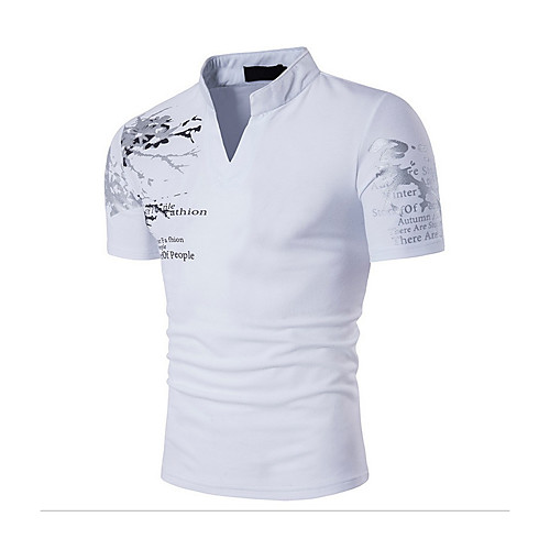 Men's Daily Sports Going out Active / Boho Cotton Slim T-shirt Print Stand Black L / Short Sleeve / Summer