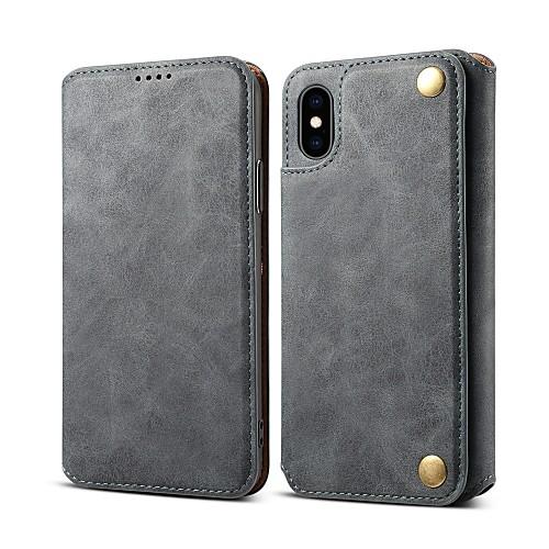 Кейс для Назначение Apple iPhone 8 / iPhone XR / iPhone XS Max Бумажник для карт / Защита от удара / со стендом Чехол Однотонный Твердый Кожа PU для iPhone XS / iPhone XR / iPhone XS Max
