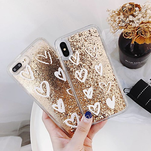 Case For iPhone XR XS XS Max Flowing Liquid / Transparent Back Cover Heart / Glitter Shine Hard PC for iPhone X 8 8 Plus 7 7plus 6s 6s Plus SE 5 5S