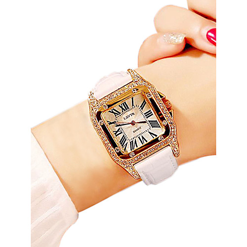 Women's Wrist Watch Square Watch Quartz Quilted PU Leather Black / White / Red 30 m Water Resistant / Waterproof Casual Watch Analog Ladies Casual Fashion Bling Bling - Purple Red Pink