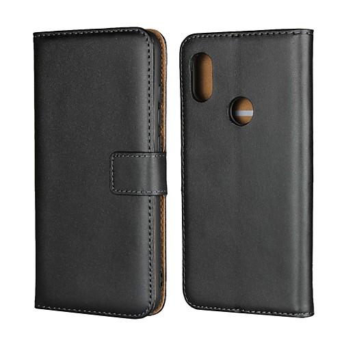 Кейс для Назначение Xiaomi Xiaomi Pocophone F1 / Xiaomi Redmi 6 Pro Кошелек / Бумажник для карт / со стендом Чехол Однотонный Твердый Настоящая кожа для Redmi Note 5A / Xiaomi Redmi Note 5 Pro фото