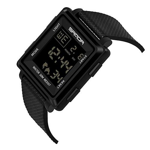 miniinthebox / SANDA Hombre Reloj Deportivo Reloj digital Japonés Digital Silicona Negro 30 m Resistente al Agua Calendario Dos Husos Horarios Digital Moda - Negro Negro / Blanco / Cronómetro / Noctilucente