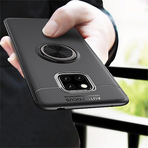 Кейс для Назначение Huawei Huawei Mate 20 Pro / Huawei Mate 20 Кольца-держатели Кейс на заднюю панель Однотонный Мягкий ТПУ для Mate 10 / Mate 10 pro / Mate 10 lite / Mate 9 Pro