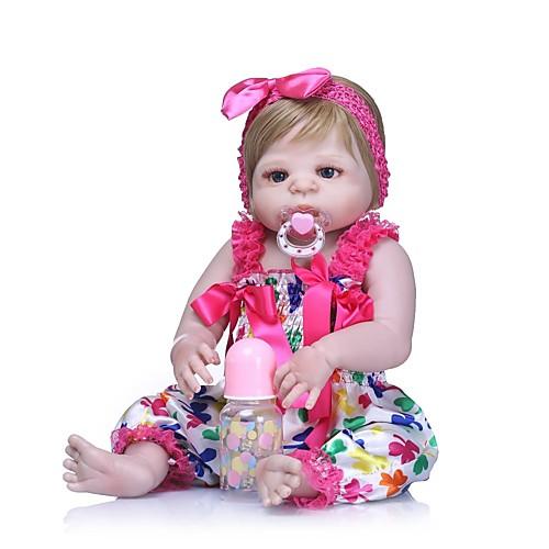 NPKCOLLECTION Куклы реборн Девочки 24 дюймовый Полный силикон для тела Винил - Новорожденный Подарок Искусственные имплантации Голубые глаза Детские Девочки Игрушки Подарок