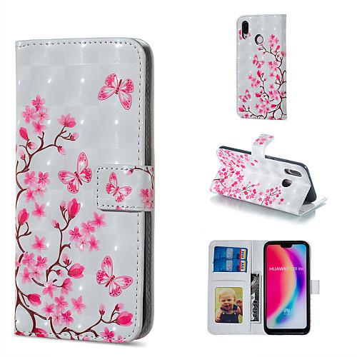 Кейс для Назначение Huawei P20 Pro / P20 lite Кошелек / Бумажник для карт / со стендом Чехол Цветы Твердый Кожа PU для Huawei P20 Pro / Huawei P20 lite / P10 Lite