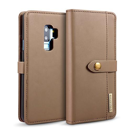 Кейс для Назначение SSamsung Galaxy S9 Plus / S8 Plus Бумажник для карт / Защита от удара / со стендом Чехол Однотонный Твердый Настоящая кожа для S9 / S9 Plus / S8 Plus фото