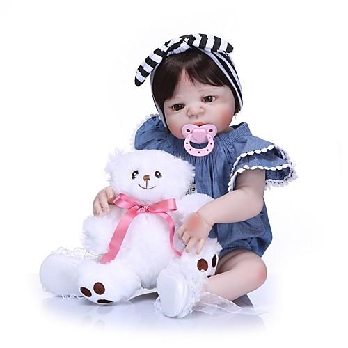 NPKCOLLECTION Куклы реборн Девочки 24 дюймовый Полный силикон для тела Силикон - как живой Подарок Искусственная имплантация Коричневые глаза Детские Девочки Игрушки Подарок