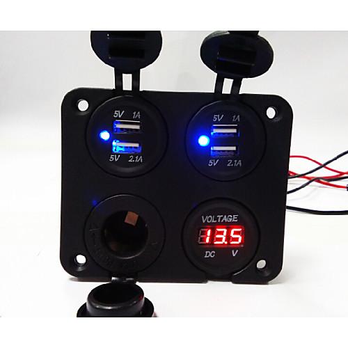 Lossmann Car Charger 4 Hole Panel Newly Designed Dual USB 5V 3.1A Socket Voltmeter Power Socket Cigarette Lighter