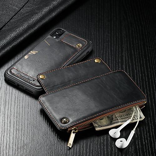 CaseMe Кейс для Назначение Apple iPhone XR Кошелек / Бумажник для карт / Защита от удара Чехол Однотонный Твердый Кожа PU для iPhone XR фото