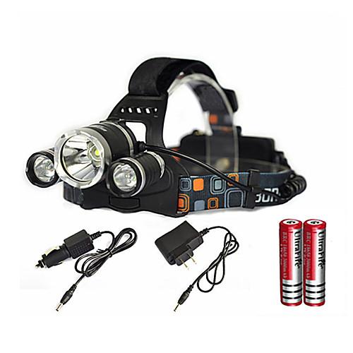 Налобные фонари Светодиодная лампа Cree XM-L T6 излучатели 6000 lm 1 Режим освещения с батарейками и зарядным устройством Масштабируемые Водонепроницаемый Перезаряжаемый