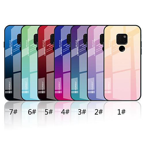 Кейс для Назначение Huawei Huawei Mate 20 Lite / Huawei Mate 20 Зеркальная поверхность / С узором Кейс на заднюю панель Градиент цвета Твердый Закаленное стекло для Mate 10 lite / Huawei Mate 20 lite фото