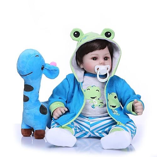 NPKCOLLECTION Куклы реборн Мальчики 18 дюймовый Подарок Очаровательный Искусственная имплантация Коричневые глаза Детские Мальчики Игрушки Подарок