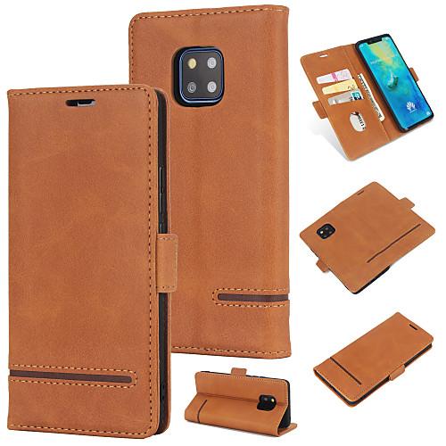 Кейс для Назначение Huawei Huawei Mate 20 Pro Кошелек / Бумажник для карт / Флип Кейс на заднюю панель Однотонный Твердый Кожа PU для Huawei Mate 20 pro фото