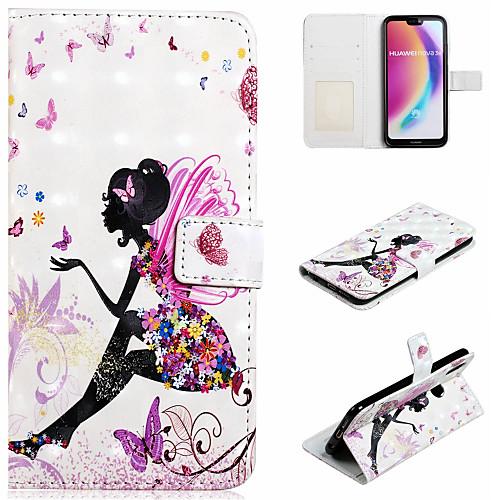 Кейс для Назначение Huawei P20 Pro / P20 lite Кошелек / Бумажник для карт / со стендом Чехол Соблазнительная девушка Твердый Кожа PU для Huawei P20 Pro / Huawei P20 lite / P10 Lite фото