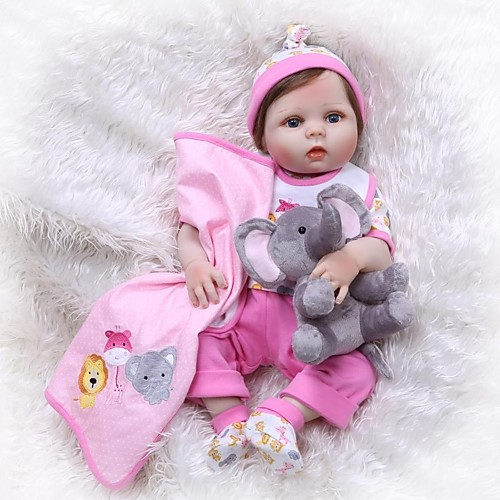 NPKCOLLECTION Куклы реборн Девочки 24 дюймовый Силикон Винил - Новорожденный как живой Искусственные имплантации Голубые глаза Детские Девочки Игрушки Подарок