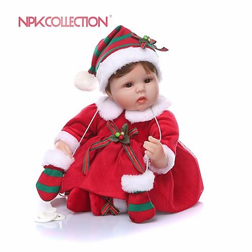NPKCOLLECTION Куклы реборн Девочки 18 дюймовый Подарок Очаровательный Искусственная имплантация Коричневые глаза Детские Девочки Игрушки Подарок