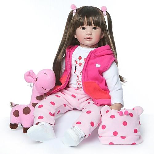 NPKCOLLECTION Куклы реборн Девочки 24 дюймовый как живой Новый дизайн Искусственная имплантация Коричневые глаза Детские Девочки Игрушки Подарок
