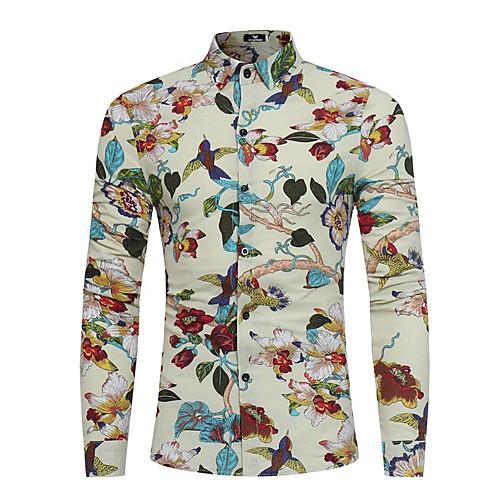 Men's Daily Shirt - Floral Print Spread Collar Black XL-US38 / UK38 / EU46 / Long Sleeve
