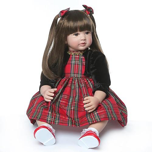 NPKCOLLECTION Куклы реборн Девочки 24 дюймовый Подарок Ручная работа Искусственная имплантация Коричневые глаза Детские Девочки Игрушки Подарок
