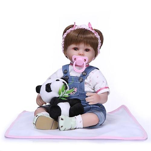 NPKCOLLECTION Куклы реборн Девочки 18 дюймовый Подарок Ручная работа Искусственная имплантация Коричневые глаза Детские Девочки Игрушки Подарок