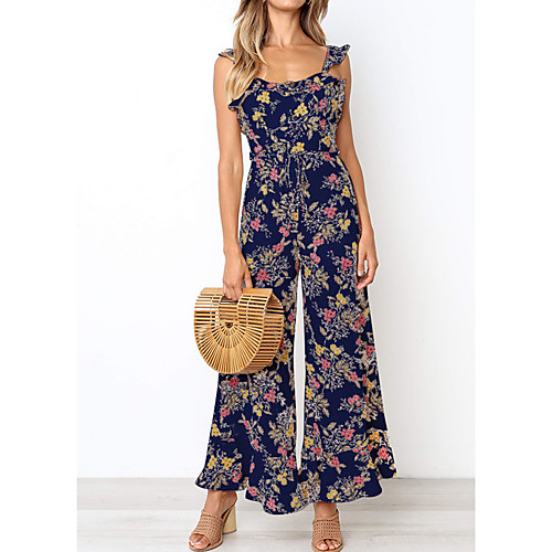 Women's Daily / Going out Basic / Street chic Strap White Blushing Pink Navy Blue Wide Leg Slim Jumpsuit, Floral / Color Block Ruffle / Print M L XL Sleeveless Spring Summer / Super Sexy
