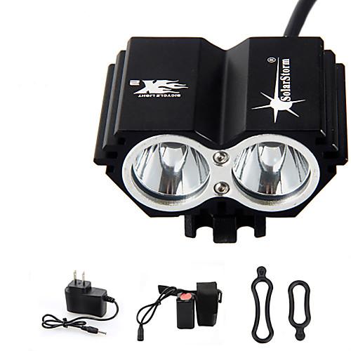 Налобные фонари Велосипедные фары Светодиодная лампа Cree T6 2 излучатели 3000 lm 4.0 Режим освещения с батареей и зарядным устройством Водонепроницаемый Перезаряжаемый Экстренная ситуация