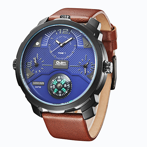 Oulm Men's Wrist Watch Quartz Genuine Leather Black / Brown 30 m Water Resistant / Waterproof Compass Three Time Zones Analog Fashion Elegant - Black Blue Rose Gold One Year Battery Life / Large Dial