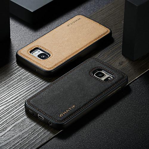 WHATIF Кейс для Назначение SSamsung Galaxy S7 Водонепроницаемый / Защита от удара / Своими руками Кейс на заднюю панель Однотонный Твердый Кожа PU для S7 фото