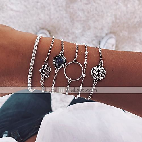 6pcs Women's Layered Retro Chain Bracelet Bracelet Bangles Pendant Bracelet Resin Moon Lotus Flower Shape Vintage Boho Bracelet Jewelry Silver For Party Daily Street