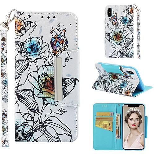 Кейс для Назначение Apple iPhone XR / iPhone XS Max Кошелек / Бумажник для карт / Защита от удара Чехол Цветы Твердый Кожа PU для iPhone XS / iPhone XR / iPhone XS Max фото