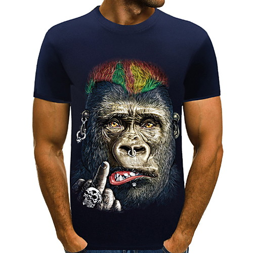 Men's T-shirt - Animal Print Round Neck Blue XXXL