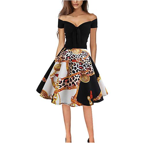 Жен. Винтаж Шифон С летящей юбкой Платье С принтом Средней длины фото