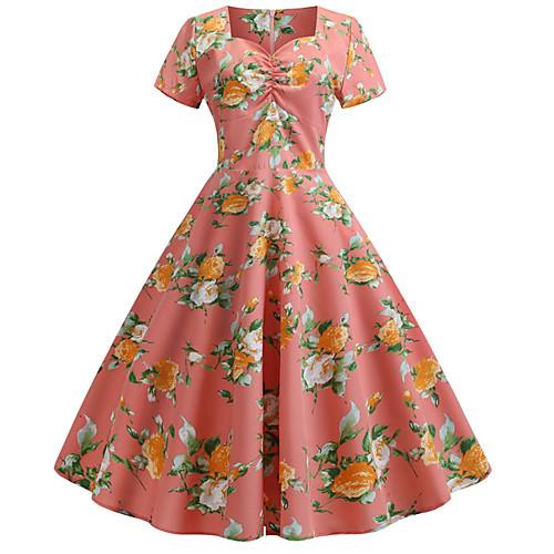 Жен. Хлопок С летящей юбкой Платье V-образный вырез Средней длины фото