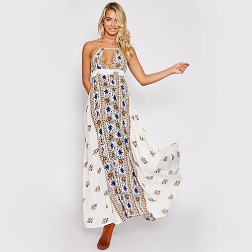 Жен. Уличный стиль С летящей юбкой Платье - Геометрический принт, С принтом Выше колена фото