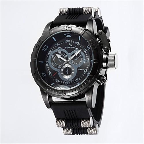 V6 Муж. Спортивные часы Кварцевый Pезина Черный / Синий / Серый 50 m Повседневные часы Аналоговый Винтаж На каждый день - Черный Серый Синий