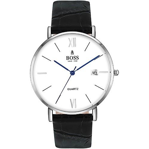 Муж. Нарядные часы Кварцевый Натуральная кожа Черный 30 m Защита от влаги Аналоговый Классика - Белый Один год Срок службы батареи