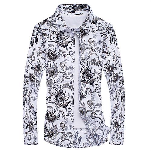 Муж. С принтом Рубашка Цветочный принт / Геометрический принт / Контрастных цветов