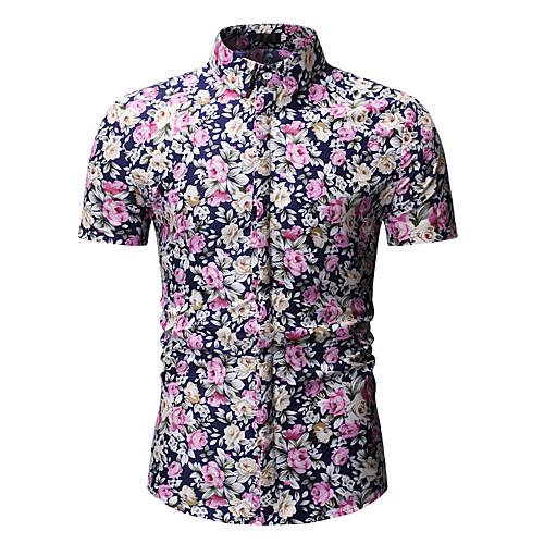 Муж. С принтом Рубашка Цветочный принт / Геометрический принт / Галактика