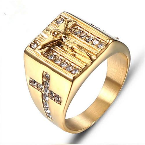 Муж. Ретро С гравировкой Кольцо Кольцо с печаткой Титановая сталь Мода Модные кольца Бижутерия Золотой Назначение Подарок Повседневные фото