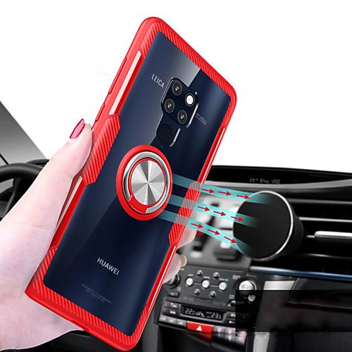 Кейс для Назначение Huawei Huawei Mate 20 Lite / Huawei Mate 20 Pro Кольца-держатели / Прозрачный Кейс на заднюю панель Однотонный Твердый Силикон для Mate 10 pro / Huawei Mate 20 lite / Huawei Mate