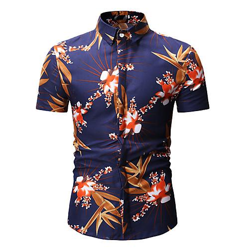 Муж. С принтом Рубашка Цветочный принт / Геометрический принт