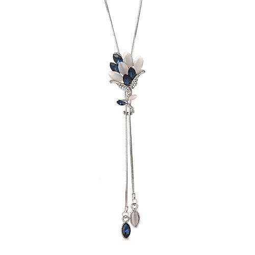 Жен. Кристалл Длиные Y Ожерелье Цветы корейский Мода Modern Cool Серый Синий 90 cm Ожерелье Бижутерия 1шт Назначение Официальные Для вечеринок фото